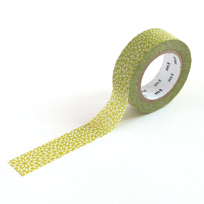 Masking Tape Petites feuilles blanches, Fond vert