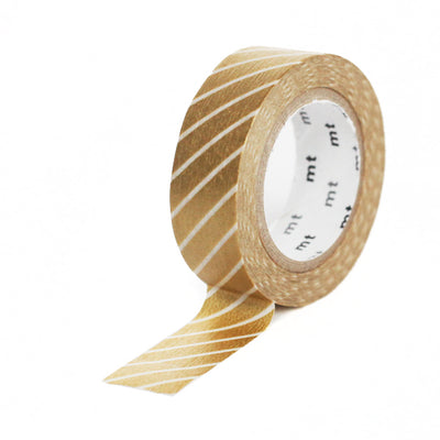 Masking Tape Fines diagonales blanches, Fond or