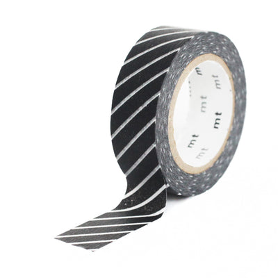 Masking Tape Fines diagonales blanches, Fond noir