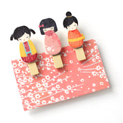 Lot de 3 pinces décoratives en bois - Kokeshi - Tons Chauds