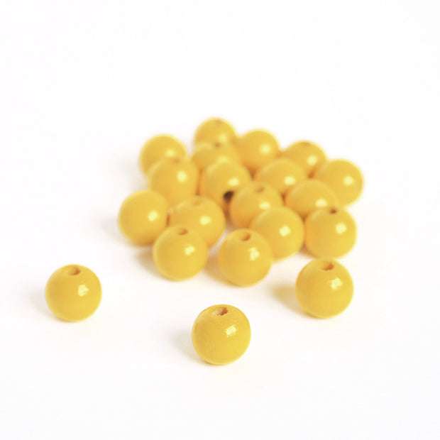 Lot de 20 perles en bois - Jaune - 11mm