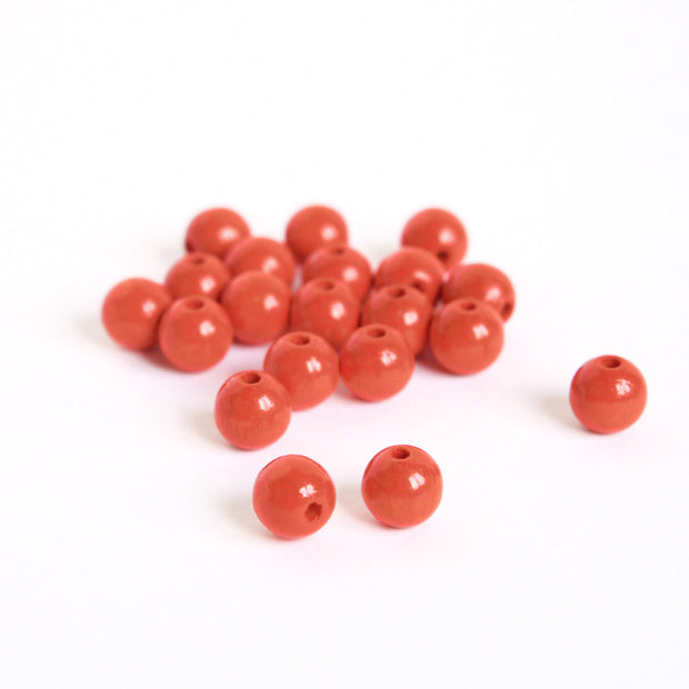 Lot de 20 perles en bois - Orange Rouge - 10mm