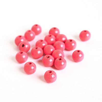Lot de 20 perles en bois - Rose - 11mm