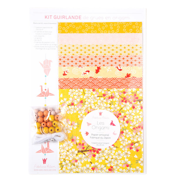 Kit Guirlande de Grues en Origami - Jaune, Orange, Rouge et Rose - A