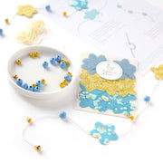Kit Mini Guirlande de Stickers - Sakura - Bleu et Jaune Acidulé - C1