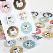 4 Planches de 32 stickers chat - Maneki Neko