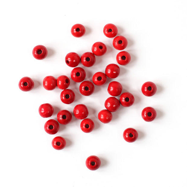 Lot de 30 perles en bois - Rouge - 8mm