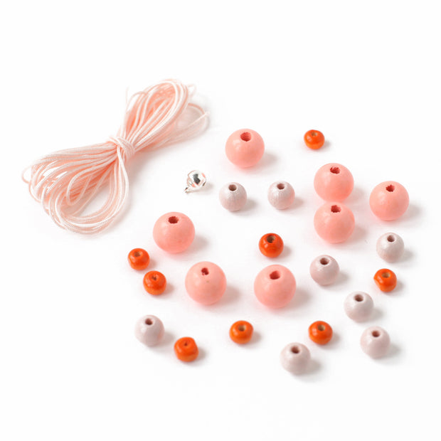 Lot de Fil & Perles - Fil 3M, Rose Pâle - 21 Perles, Rose Pâle, Corail et Orange - E