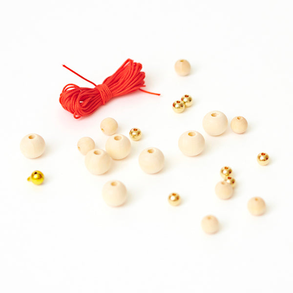 Kit Fil Rouge - Perles bois, or -A2