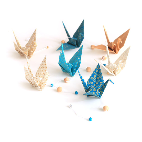 Kit guirlande Grues en origami - Bleu canard Or
