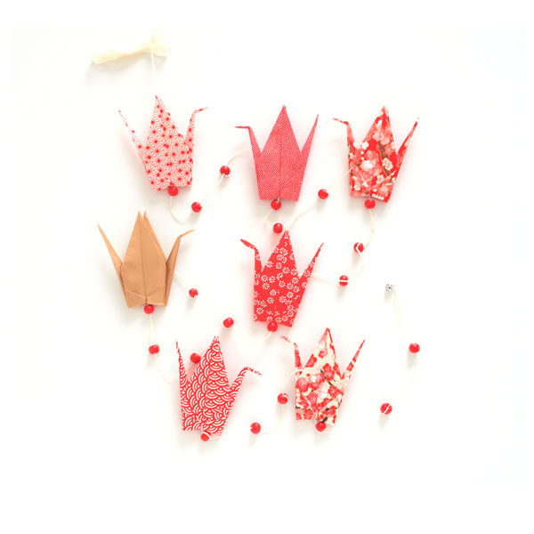 Kit guirlande de grues en origami - Rouge Or - J