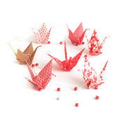 Kit guirlande Grues en origami - Rouge Or