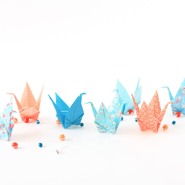 Kit guirlande de grues en origami - Bleu Orange - T