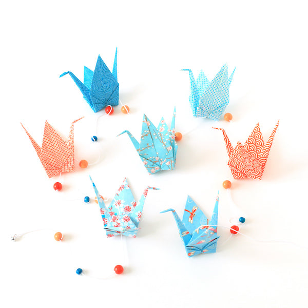 Guirlande de grues en origami - Bleu et orange