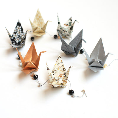 Kit guirlande de grues en origami - Noir Or - S