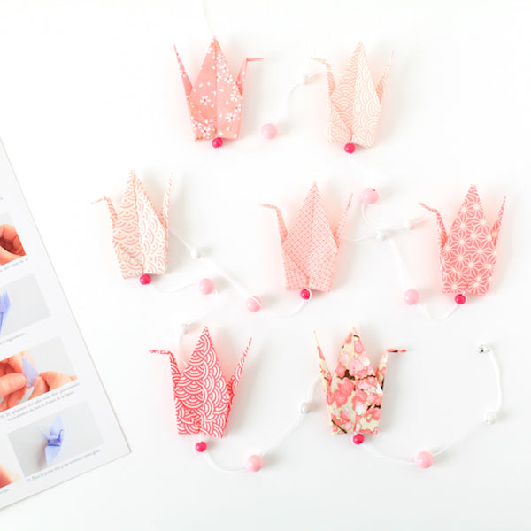 Kit guirlande de grues en origami - Rose - C