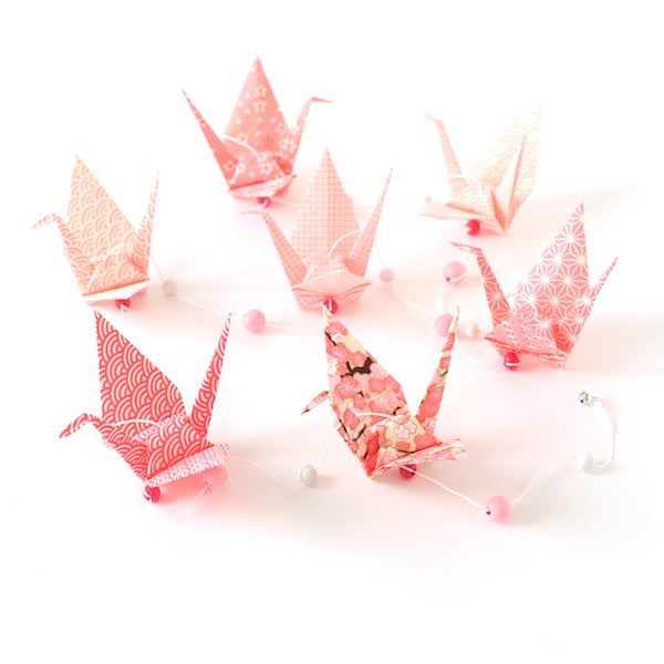 Kit guirlande Grues en origami - Rose