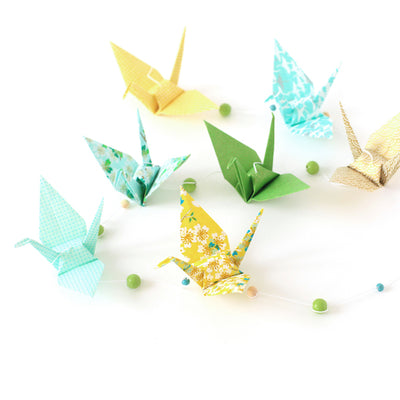 Kit guirlande Grues en origami - Vert Moutarde
