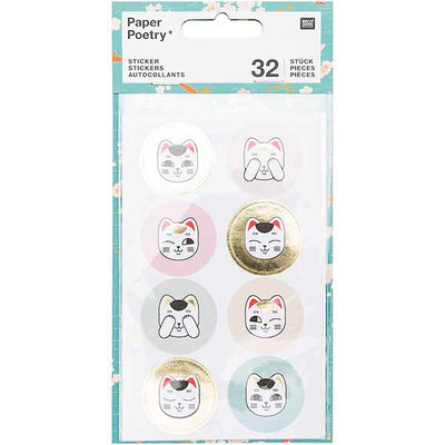 Stickers chat (Maneki Neko) 4 planches de 32 stickers