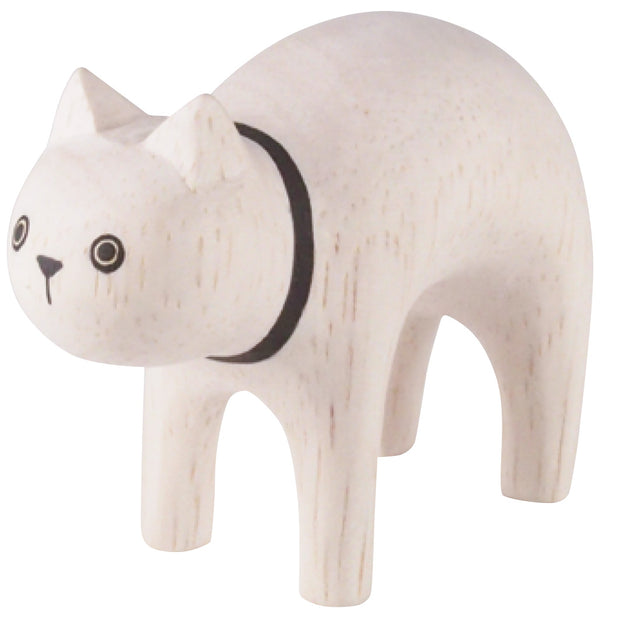 Chat blanc en bois - Pole Pole - T-Lab