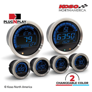 Koso North America - Meters - Gauges - HD-02 | 6 pieces kit (silver bezel) | for Harley-Davidson®