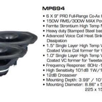 "Diamond Audio MP694 6x9"" Pro Full-range Coax Horn Speaker (Pair)"