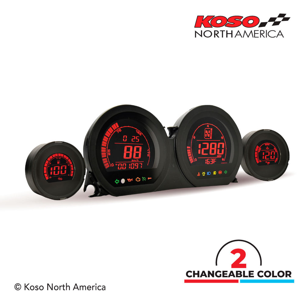 "Koso North America - Meters - Gauges - HD-03 | 4 pieces LCD kit (red & blue) | for Harley-Davidson®  | 5"" multifunction meter 