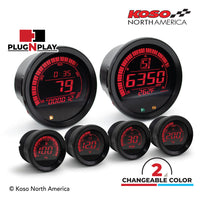 Koso North America - Meters - Gauges - HD-02 | 6 pieces kit (black bezel) | for Harley-Davidson®