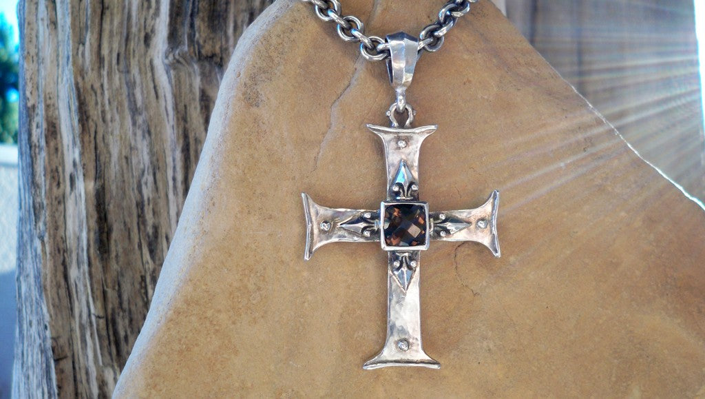 Sterling Silver Cross and Smoky Topaz