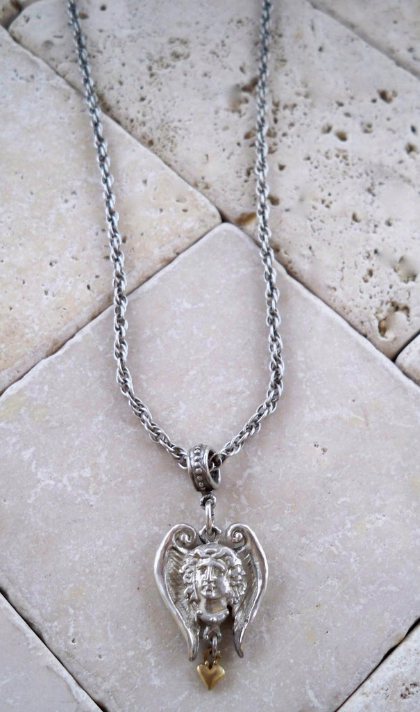 Sterling Silver Amor Angel with 18k Gold Heart Necklace