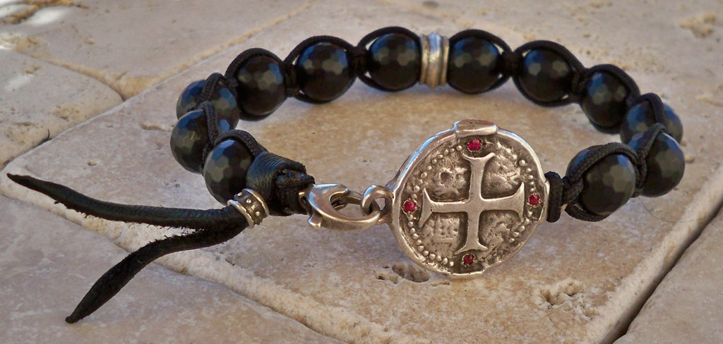 Sterling Silver Cross Medallion Ruby Set Bracelet with Black Faceted Onyx Beads