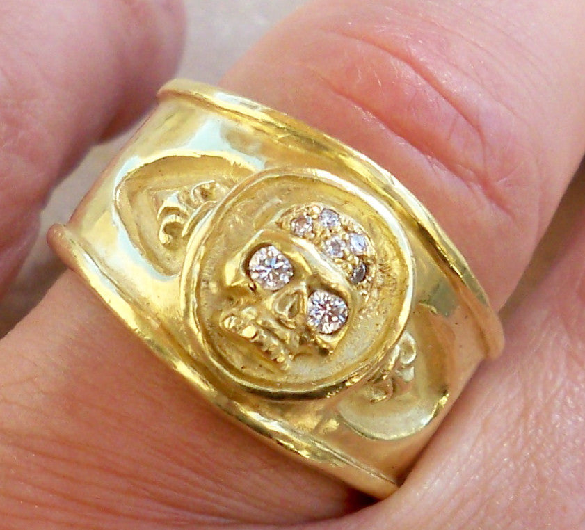 Yellow Gold Skull White Diamond Ring by Roman Paul