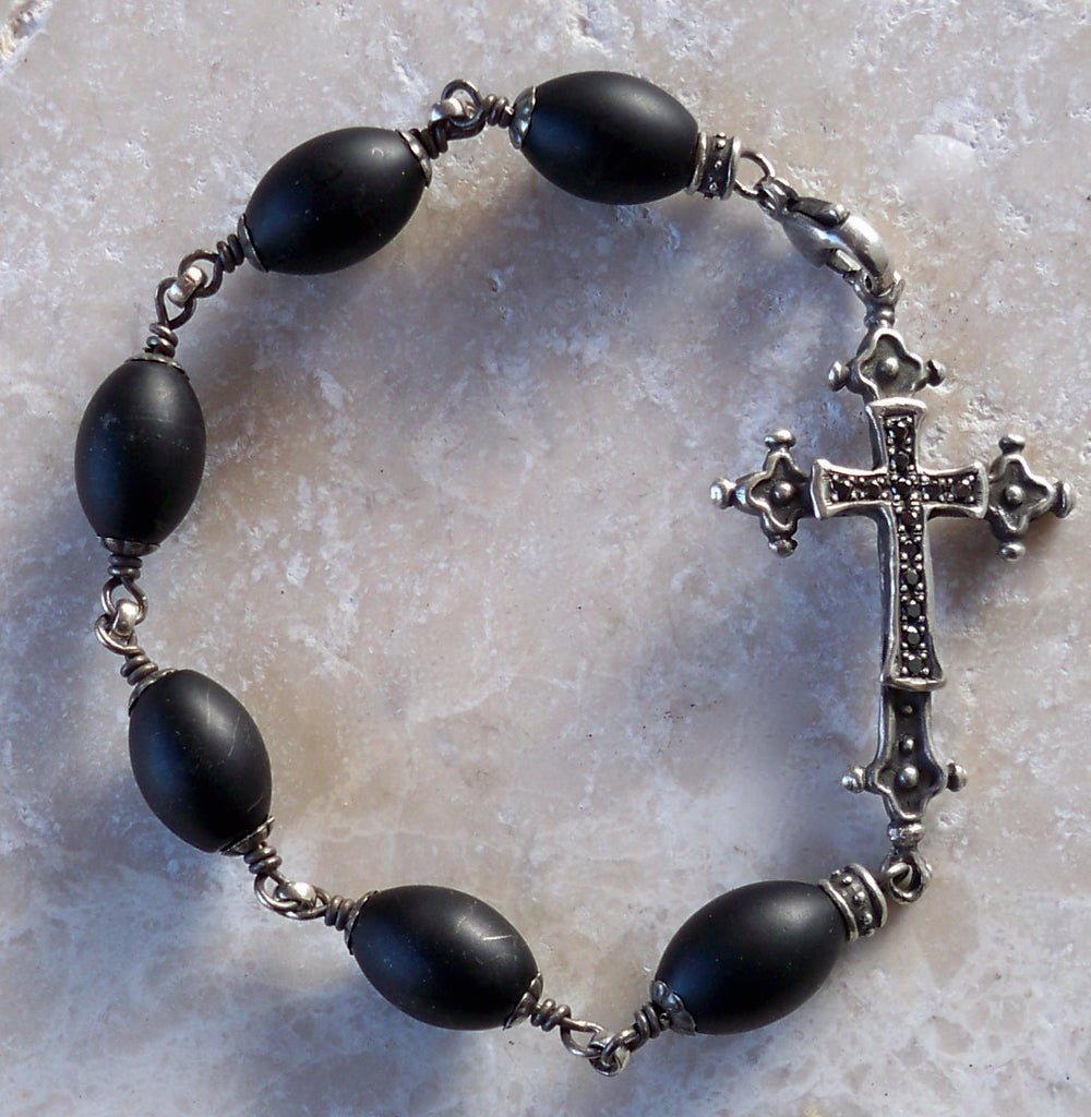 Sterling silver cross with diamonds and rubies - onyx beads