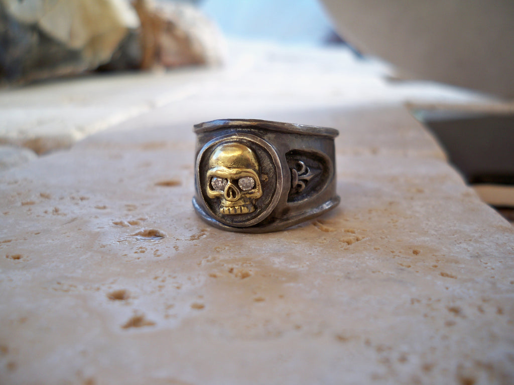 Gold Skull Diamonds Platinum Finish Silver Ring