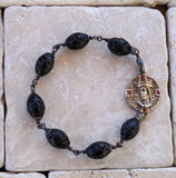 Bronze Medallion Cross Bracelet & Lava Beads