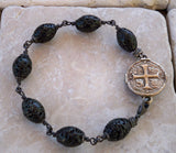 Bronze Medallion Bracelet & Lava Beads by Roman Paul