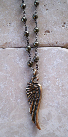 Necklace - Bronze Wing On Sterling Silver