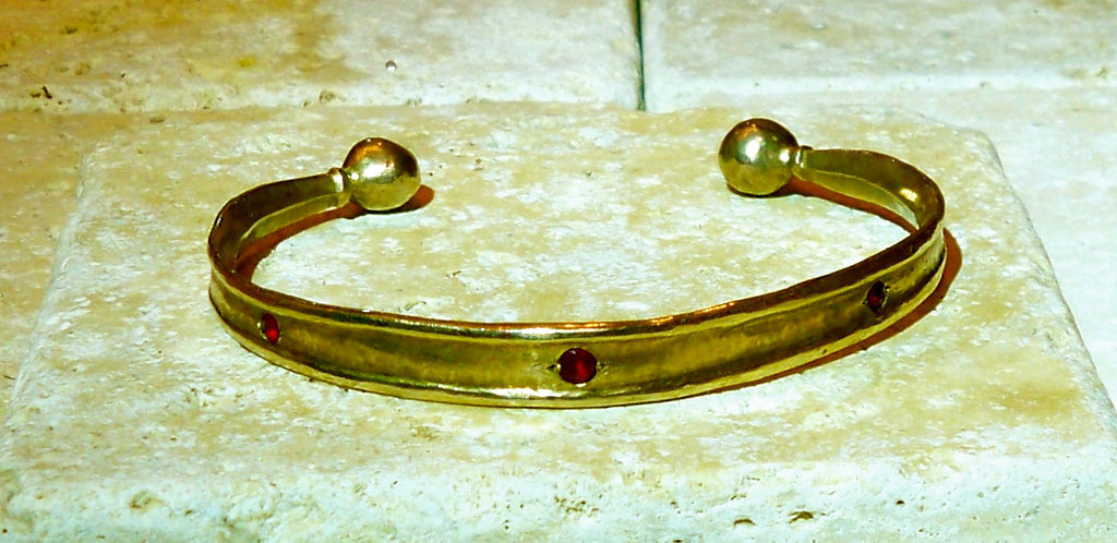 Bronze jewelry cuff - red rubies - gold layer