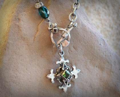"Sterling Silver Fleur De Lis Cross with Tourmaline Necklace On 18"" Chain"