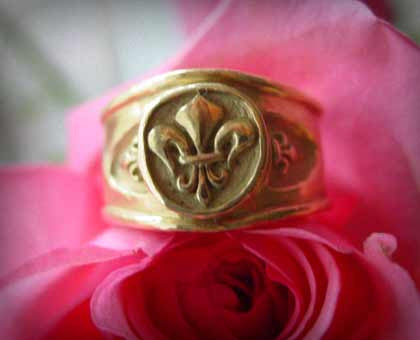 Yellow Gold Fleur De Lis Ring by Roman Paul