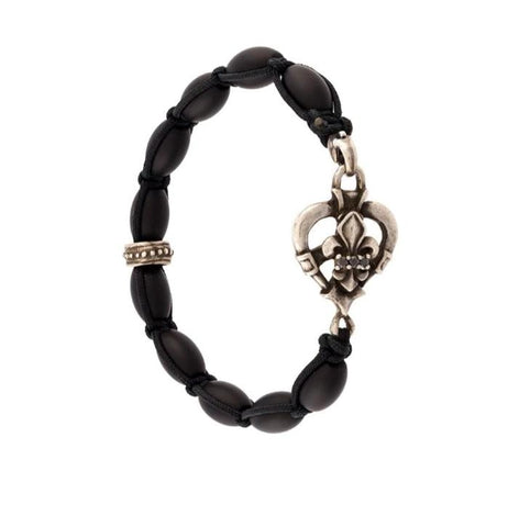 Bracelet - Dragon Heart & Fleur de Lis with Black Diamonds