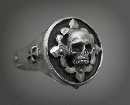 Sterling Silver Skull Fleur De Lis Ring by Roman Paul