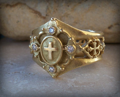 Jewelry designer art cathedral 18k gold ring and diamonds