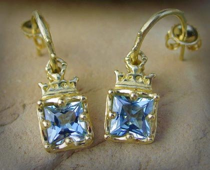 Gold Crowned Frames Aquamarine Earrings