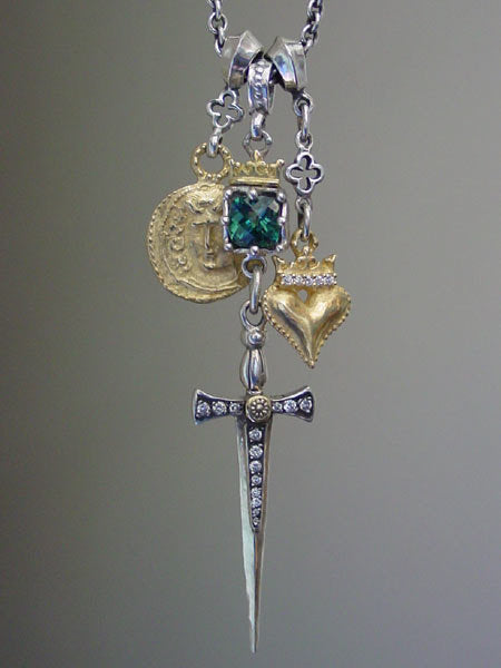 Gold & Silver Triple Charm Necklace & Green Tourmaline