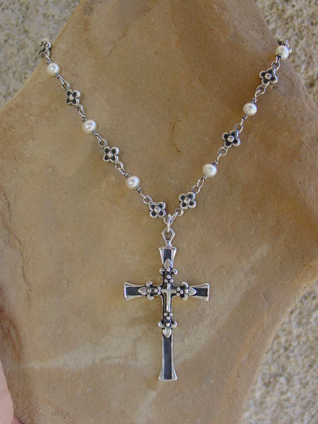 Sterling Silver Triple Cross Necklace with Daisy Flowers & White Pearls