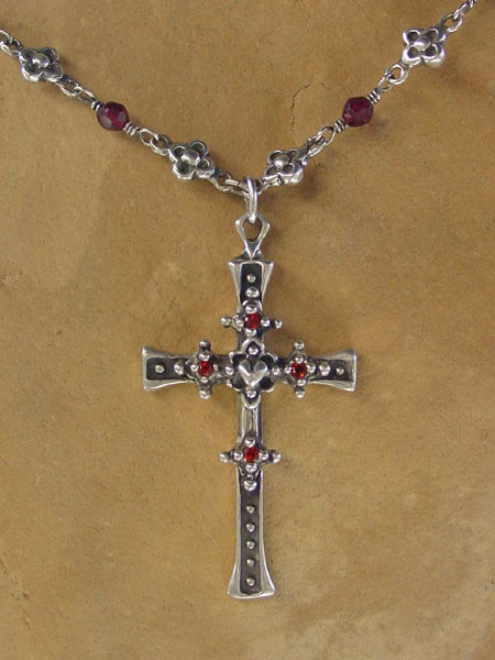 Sterling Silver Heart Cross with Garnet Pave & Rose Cut Garnet Beads