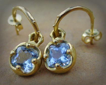 Earrings Blue Topaz 18k Yellow Gold Hoops