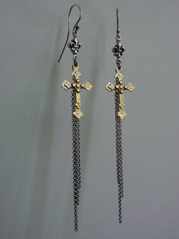 Earrings Gold Cross Silver Fleur De Lis & Tassel