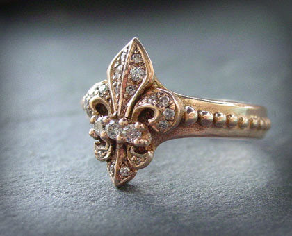 Rose Gold Fleur De Lis White Diamond Ring